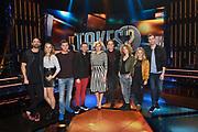 Persviewing van 'It Takes 2'  in Studio 22, Hilversum. 'It Takes 2' is het nieuwe RTL-programma It Takes 2, waarin BN'ers een poging doen om popster te worden,<br /> <br /> Op de foto:  Jan Kooijman, Lieke van Lexmond, Pim Wessels, Rutger Vink, Klaas van der Eerden, Jan Versteegh, Carolien Borgers, Marlijn Weerdenburg en Fatima Moreira de Melo.
