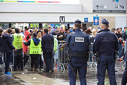 PARIS, FRANCE - Sunday, July 3, 2016: Police at the supporters' entrance before the UEFA Euro 2016 Championship Semi-Final match between France and Iceland at the Stade de France. (Pic by Paul Greenwood/Propaganda)
