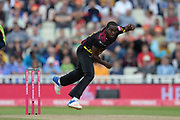 Jerome Taylor of Somerset bowling during the Vitality T20 Finals Day semi final 2018 match between Sussex Sharks and Somerset County Cricket Club at Edgbaston, Birmingham, United Kingdom on 15 September 2018.