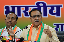 May 2, 2019 - Jaipur, Rajasthan, India - Gujrat Chief Minister Vijay Rupani addressing the media person during the press conference at BJP office in Jaipur ,Rajasthan, India on May 2, 2019. (Credit Image: © Vishal Bhatnagar/NurPhoto via ZUMA Press)