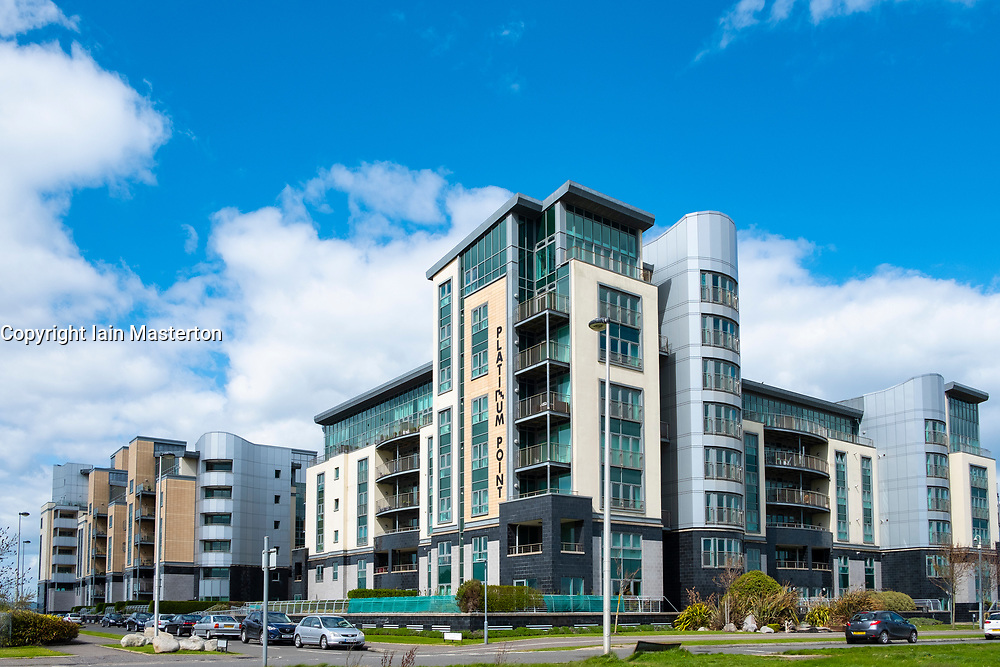 Large modern apartment blocks at Platinum Point  at Western Harbour in Leith, Edinburgh, Scotland, UK