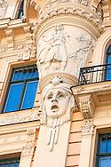 Art Nouveau architecture in Riga, Latvia. Pictured, a detail of the facade of Alberta iela 13. © Rudolf Abraham