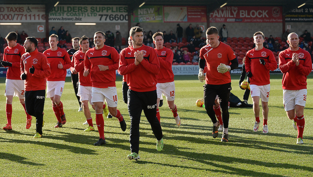 The Fleetwood Town players applaud the fans after the pre match warm up <br /> <br /> Photographer Ian Cook/CameraSport<br /> <br /> Football - The Football League Sky Bet League One - Fleetwood Town v Notts County - Saturday 21st February 2015 - Highbury Stadium - Fleetwood<br /> <br /> © CameraSport - 43 Linden Ave. Countesthorpe. Leicester. England. LE8 5PG - Tel: +44 (0) 116 277 4147 - admin@camerasport.com - www.camerasport.com