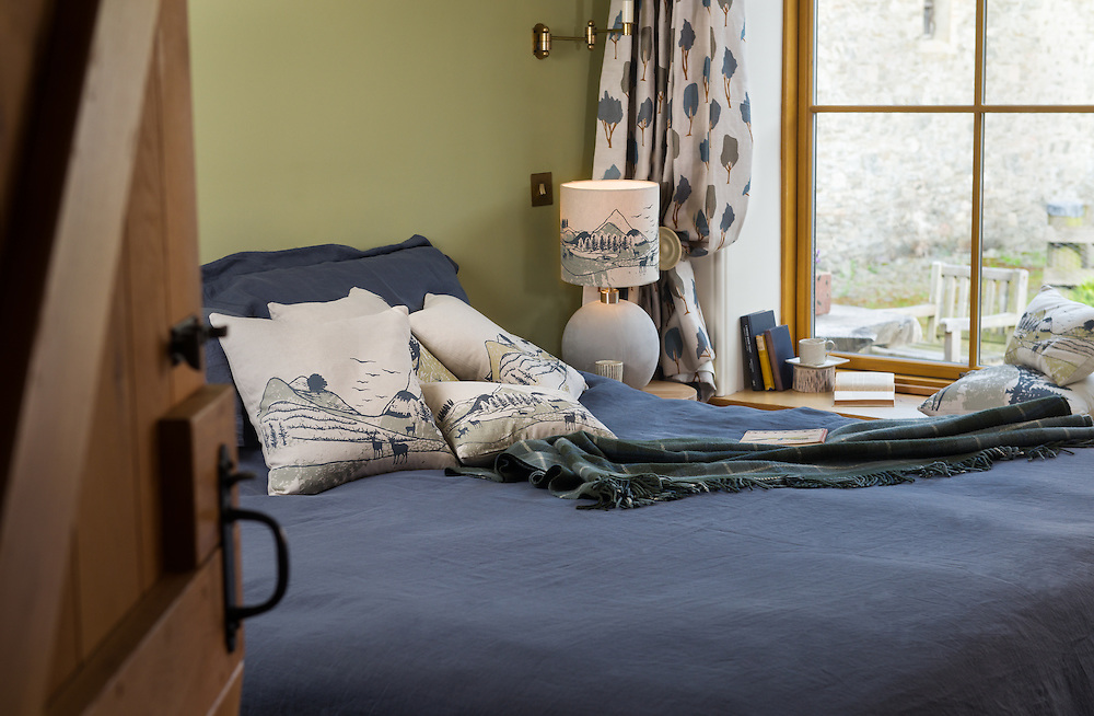 2016 product range for Orwell & Goode, photogrpaghed at The Mill, Lewinshope, in the Yarrow valley.2016 Collection for Orwell & Goode.  Home decor, art prints, fabric & accessories, including wallpaper, lampshades, footstools, pouffes, cushions.  The hand made designs by Scottish Border based design team, Bonagh and Zuzana, are inspired by the land and animals in Scotland, including stags, foxes, badgers, owls, hares and deer. Scenes include night and daytime woods, trees and the mountains. The collections includes lampshades, cushions, footstools, ottomans, prints, fabric and wallpaper. Many of the designs are hand screen printed.