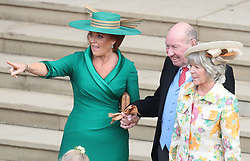 Sarah, Duchess of York (left) with Nicola and George Brooksbank outside St George's Chapel in Windsor Castle after the wedding of Princess Eugenie and Jack Brooksbank.