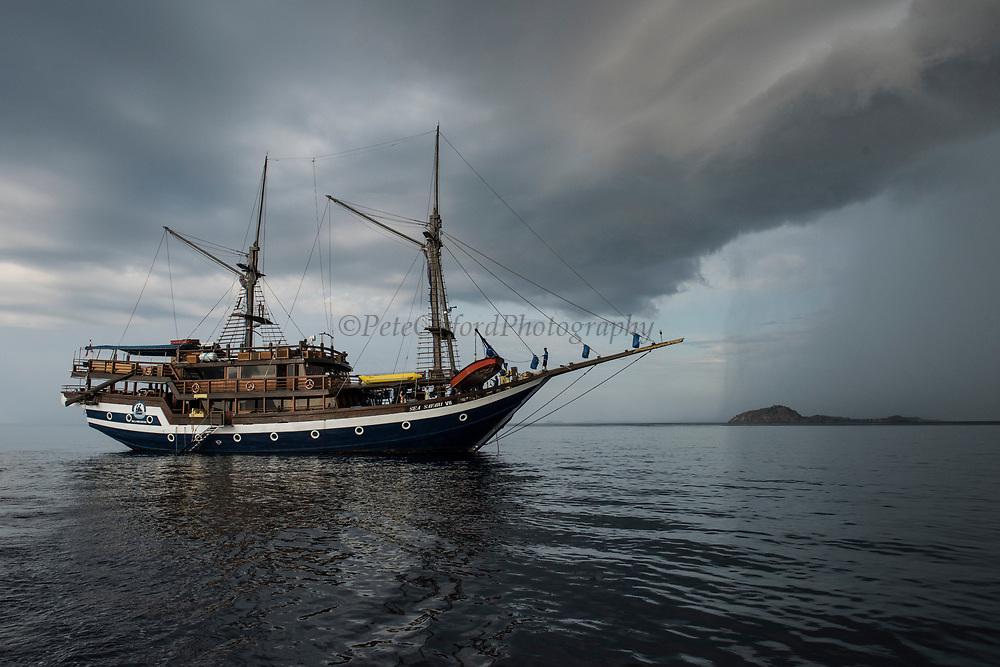 Dive boat Sea Safari V11<br /> West Nusa Tenggara <br /> Lesser Sunda Islands<br /> Indonesia<br /> A Pinisi type boat (Traditional Indonesian Motor Sailer)