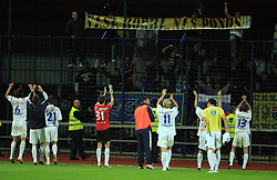 Team Celje celebrates with fans after the 30th Round of Slovenian First League football match between NK Domzale and NK MIK CM Celje in Sports park Domzale, on April 25, 2009, in Domzale, Slovenia. Celje won 3:0. (Photo by Vid Ponikvar / Sportida)