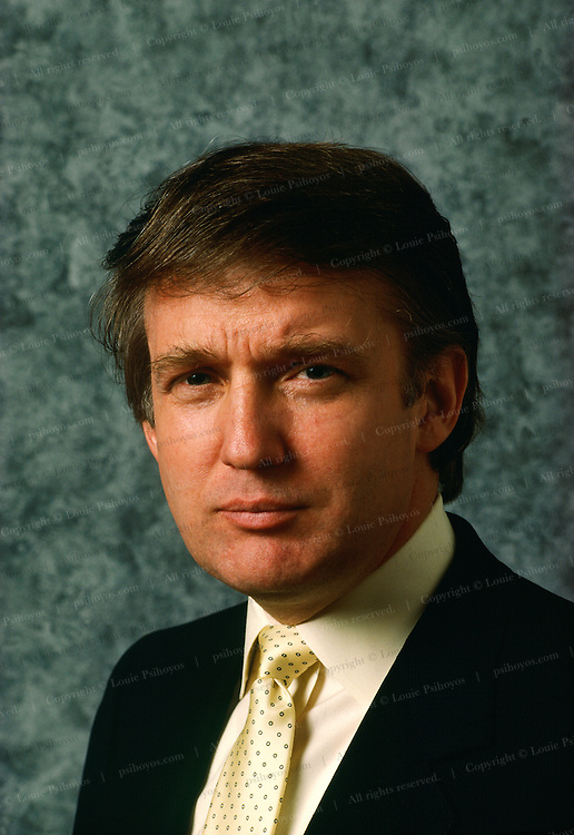 Donald Trump with painted backdrop.