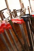 Work bench detail inside a gondola workshop. Giudecca, Venice, Italy, Europe