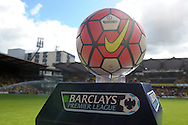 the Barclays Premier League match day ball is pictured before k/o. Barclays Premier League, Watford v Southampton at Vicarage Road in London on Sunday 23rd August 2015.<br /> pic by John Patrick Fletcher, Andrew Orchard sports photography.