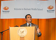 """Houston Mayor Pro Tem Ed Gonzalez comments during a Televisa Foundation """"Live the Dream"""" event at Burbank Middle School, December 9, 2013."""
