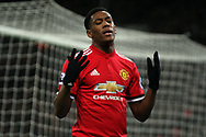 Anthony Martial of Manchester United reacts after a missed chance to score.Premier league match, Tottenham Hotspur v Manchester Utd at Wembley Stadium in London on Wednesday 31st January 2018.<br /> pic by Steffan Bowen, Andrew Orchard sports photography.