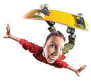 Exaggerated Perspective of Boy on Skateboard