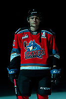 KELOWNA, BC - DECEMBER 18: Matthew Wedman #20 of the Kelowna Rockets stands on the ice against the Vancouver Giants for his first home game after being traded  at Prospera Place on December 18, 2019 in Kelowna, Canada. Wedman was selected in the 2019 NHL entry draft by the Florida Panthers. (Photo by Marissa Baecker/Shoot the Breeze)