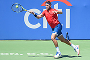 JACK SOCK strikes a forehand during his semifinal match at the Citi Open at the Rock Creek Park Tennis Center in Washington, D.C.