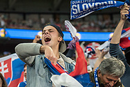 slovakia fans during the FIFA World Cup Qualifier match between England and Slovakia at Wembley Stadium, London, England on 4 September 2017. Photo by Sebastian Frej.