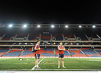10 June 2013; Jamie Heaslip, British & Irish Lions, and assistant coach Andy Farrell, left, during a stadium visit ahead of their game against Combined Country on Tuesday. British & Irish Lions Tour 2013, Stadium Visit, Hunter Stadium, Newcastle, NSW, Australia. Picture credit: Stephen McCarthy / SPORTSFILE