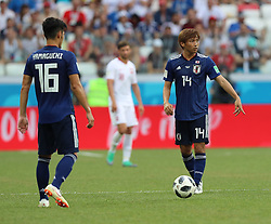VOLGOGRAD, June 28, 2018  Takashi Inui (R) of Japan is seen at the end of the 2018 FIFA World Cup Group H match between Japan and Poland in Volgograd, Russia, June 28, 2018. Poland won 1-0. Japan advanced to the round of 16. (Credit Image: © Yang Lei/Xinhua via ZUMA Wire)