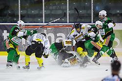 19.10.2012. Hala Tivoli, Ljubljana, SLO, EBEL, HDD Telemach Olimpija Ljubljana vs Dornbirner Eishockey Club, 13. Runde, in picture Nicolas Petrik (Dornbirner Eishockey Club, #12) crashes Jerry Kuhn (HDD Telemach Olimpija, #35) during the Erste Bank Icehockey League 13th Round match betweeen HDD Telemach Olimpija Ljubljana and Dornbirner Eishockey Club at the Hala Tivoli, Ljubljana, Slovenia on 2012/10/19. (Photo By Matic Klansek Velej / Sportida)