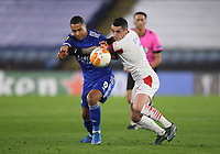 Football - 2020 / 2021 Europa League - Round of 32 - Second Leg - Leicester City vs Slavia Prague - King Power Stadium<br /> <br /> Leicester City's Youri Tielemans holds off the challenge from Slavia Prague's Nicolae Stanciu.<br /> <br /> COLORSPORT/ASHLEY WESTERN