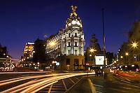 España. Madrid<br /> Vista nocturna del cruce de las Calles Alcalá y Gran Vía<br /> <br /> ©JOAN COSTA