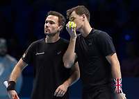 Tennis - 2017 Nitto ATP Finals at The O2 - Day Six<br /> <br /> Mens Doubles: Group Woodbridge/Woodforde: Lukasz Kubot (Poland) & Marcelo Melo (Brazil) Vs Jamie Murray (Great Britain) & Bruno Soares (Brazil) <br /> <br /> Jamie Murray (Great Britain) and Bruno Soares (Brazil) hide their tactics at the O2 Arena<br /> <br /> COLORSPORT/DANIEL BEARHAM