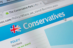 Detail of screenshot from website of Conservatives political party in the United Kingdom