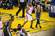Houston Rockets guard Chris Paul (3) defends Golden State Warriors guard Stephen Curry (30) during Game 4 of the Western Conference Finals at Oracle Arena in Oakland, Calif., on May 22, 2018. (Stan Olszewski/Special to S.F. Examiner)