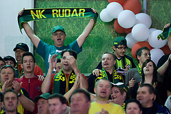 Fans of Rudar celebrates at 1st Round of Europe League football match between NK Rudar Velenje (Slovenia) and Trans Narva (Estonia), on July 9 2009, in Velenje, Slovenia. Rudar won 3:1 and qualified to 2nd Round. (Photo by Vid Ponikvar / Sportida)