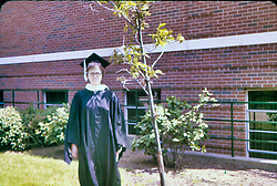 Sharon Guengerich college graduation 1974 - Elmhurst College<br /> <br />  Photos taken by George Look.  Image started as a color slide.