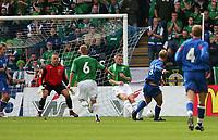 Photo: Andrew Unwin.<br />Northern Ireland v Iceland. European Championships 2008 Qualifying. 02/09/2006.<br />Iceland's Eidur Gudjohnsen (#9) scores his team's third goal.