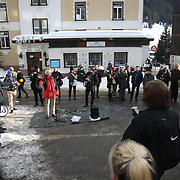 The third and final day of the Strike WEF march on Davos, 21th of January 2020, Switzerland. The march on the last day started in Klosters where hundreds of activists took the mountain path to Davos.  The authorities would not allow the marchers to walk o the road to Davos so many opted to wlak the ten km on the ardous and snowy hiking trail.  The march is a three day protest against the World Economic Forum meeting in Davos. The activists want climate justice and think that The WEF is for the world's richest and political elite only.