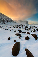 Rocks, Unstad Beach, Lofoten Islands, Arctic, Northern Norway.
