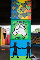 London, UK. 13 June, 2019. Murals underneath the Westway close to the Grenfell Tower in North Kensington. Tomorrow, the Grenfell community will mark the second anniversary of the Grenfell Tower fire on 14th June 2017 in which 72 people died and over 70 were injured. Two years on, some family members remain in temporary accommodation and many are still traumatised. Phase 2 of the Grenfell Inquiry will begin in 2020, with criminal investigation findings expected to be sent to the Crown Prosecution Service in 2021.