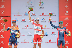 September 16, 2016 - Wuhan, China - (Left-Right) Nicolas Marini - Nippo - Vini Fantini, Marco Benfatto - Androni-Giocattoli and Stanislau Bazhkou - Minsk Cycling Club, the podium of the final sixth stage, 99.6km Wuhan Xinzhou Circuit race, of the 2016 Tour of China 1..On Friday, 16 September 2016, in Xinzhou, Wuhan , China. (Credit Image: © Artur Widak/NurPhoto via ZUMA Press)