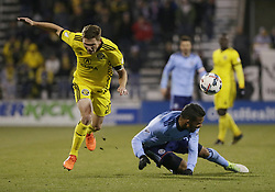 October 31, 2017 - Columbus, OH, USA - Columbus Crew midfielder Wil Trapp (20) collides with New York City FC midfielder Yangel Herrera (30) during the second half in an MLS Eastern Conference Semifinal playoff game in Columbus, Ohio, on Tuesday, Oct. 31, 2017. The Crew won, 4-1. (Credit Image: © Adam Cairns/TNS via ZUMA Wire)