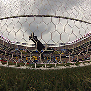 Brazilian keeper Rafael Cabral saves a Lionel Messi free kick during the Brazil V Argentina International Football Friendly match at MetLife Stadium, East Rutherford, New Jersey, USA. 9th June 2012. Photo Tim Clayton