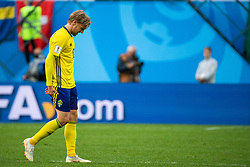 July 3, 2018 - St Petersburg, RUSSIA - 180703 Emil Forsberg holds his back thigh as he is substituted during the FIFA World Cup round of 16 match between Sweden and Switzerland on July 3, 2018 in St Petersburg..Photo: Joel Marklund / BILDBYRÃ…N / kod JM / 87748 (Credit Image: © Joel Marklund/Bildbyran via ZUMA Press)