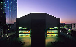 Stock photo of an evening view of the downtown Houston public library