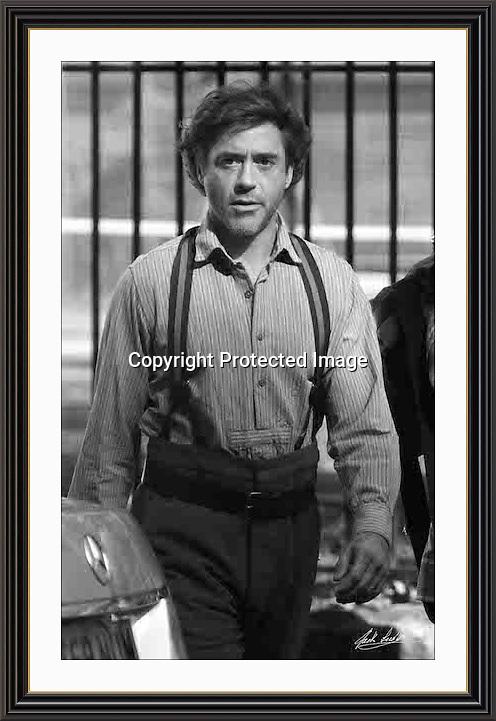 Robert Downey Jr. On set of Sherlock Holmes. Holborn London A2 Museum-quality Archival signed Framed Print