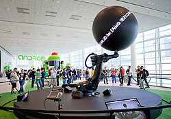A giant robotic Nexus Q, Google's new home media player,  is on display during the Google I/O Developer Conference in San Francisco, California.