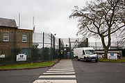 A pedestrian crossing directly into HMP Downview, Surrey, United Kingdom. HMP Downview is a women's closed category prison for adult sentenced women and convicted and remand female young people located on the outskirts of Banstead in Surrey, England. (Picture credit: © Andy Aitchison)