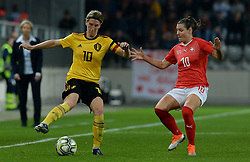 October 9, 2018 - Biel, SWITZERLAND - Belgium's Aline Zeler and Switzerland's forward Ramona Bachmann pictured in action during a soccer game between Switzerland and Belgium's national team the Red Flames, Tuesday 09 October 2018, in Biel, Switzerland, the return leg of the play-offs qualification games for the women's 2019 World Cup. BELGA PHOTO DAVID CATRY (Credit Image: © David Catry/Belga via ZUMA Press)