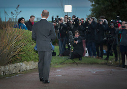 © Licensed to London News Pictures. 22/01/2018. Folkstone, UK. UKIP Leader HENRY BOLTON faces reporters and TV crews as he gives a statement outside his hotel in Folkestone, Kent following a series of resignations within the party. Bolton, who has only been leader of UKIP since September 2017, has come under pressure following unfavourable stories in the press about his personal life and the behaviour of his former girlfriend Jo Marney. Photo credit: Peter Macdiarmid/LNP