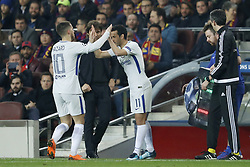 (L-R) Eden Hazard of Chelsea FC, Pedro Rodriguez of Chelsea FC during the UEFA Champions League round of 16 match between FC Barcelona and Chelsea FC at the Camp Nou stadium on March 14, 2018 in Barcelona, Spain.