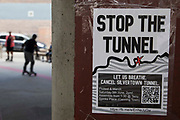 A poster advertising a protest by environmental activists and local residents against the construction of the Silvertown Tunnel is pictured on 5th June 2021 in London, United Kingdom. Campaigners opposed to the controversial new £2bn road link across the River Thames from the Tidal Basin Roundabout in Silvertown to Greenwich Peninsula argue that it is incompatible with the UKs climate change commitments because it will attract more traffic and so also increased congestion and air pollution to the most polluted borough of London.