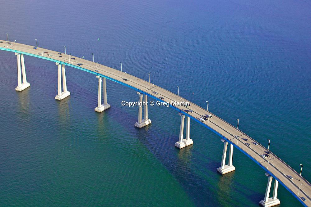 Aerial photograph of the Coronado Bridge in San Diego  Bay.