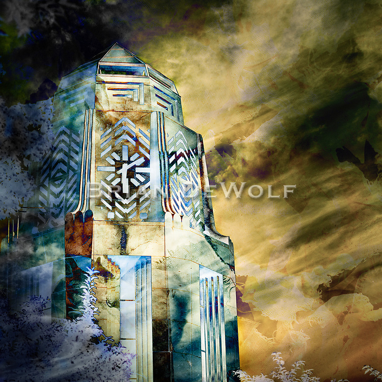 An abstract rendering of the city of St. Charles, Illinois clock tower.   Aspect Ratio 1w x 1h.