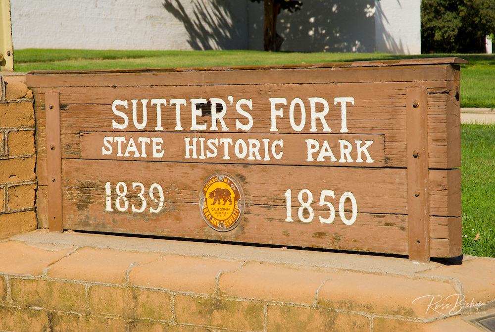 State Park sign at Sutter's Fort (1839-1850), Sacramento, California
