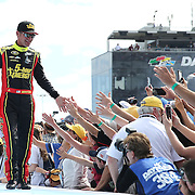 Race car driver Clint Bowyer is seen during driver introductions prior to the 58th Annual NASCAR Daytona 500 auto race at Daytona International Speedway on Sunday, February 21, 2016 in Daytona Beach, Florida.  (Alex Menendez via AP)